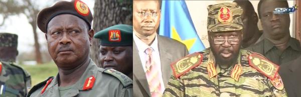 Salva Kiir Mayardiit and a counterpart in the struggle, President Yoweri Museveni(Photo: supplied)