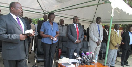 The SPLM senior leaders at the SPLM Press Conference on Dec 6th, 2013(photo: File|Nyamilepedia)