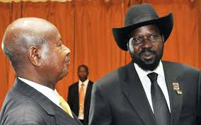 Ugandan president, Yoweri Museveni, and his weak counterpart, Salva Kiir Mayardit(Photo: file)
