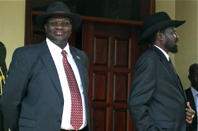 Dr. Riek Machar, the former vice president, and his former boss, president Salva Kiir, at deadbolt to democratically transform the new state, South Sudan (Photo: Nyamilepedia files)