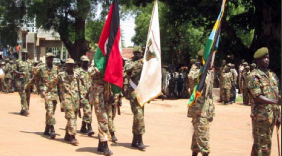 Division five SPLA soldiers matching in Wau, on 14 April in a peaceful procession(Photo: Gurtong, cropped by Nyamile)