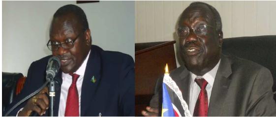 The senior SPLM Leaders, Dr. Riek Machar Teny and Lt. Gen. Alfred Lado Gore (photo credit: Nyamilepedia)