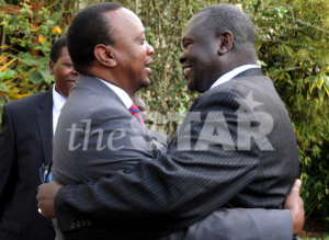 The then Deputy Prime Minister Uhuru Kenyatta meets the then South Sudanese Vice President Riek Machar in Nairobi in October 2012 (Photo: The Star)