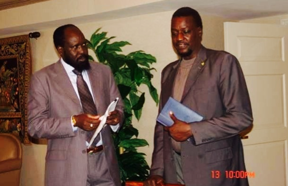 President Salva Kiir in attempt to get Dr. Biong's perspective on the Abyei's referrundum(Photo: GOSS)