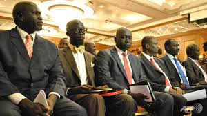 SPLM/SPLA members attend talks in Addis Ababa, Ethiopia to try and broker a peace deal that will include the formation of an interim government. The talks are adjourned until further notice. (Photo: AFP/Jacey FORTIN)