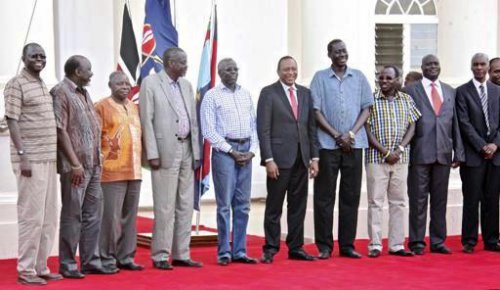 """SPLM_Uhuru, the former political detainees, who were released into custody of the Kenyan president, Uhuru Kenyatta are holding onto another loose coalition that may never last. The detainees allied with Dr. Machar, which led to their arrest but afterwards claim to be """"pure"""" to stand alone(Photo: AP/Kenyan presidency)"""
