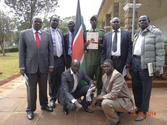 Brig. Gen Lul Ruai Koang with members of SPLA-IO during Maj. Teah's graduation in Karen, Nairobi(Photo: via Lul's social media)