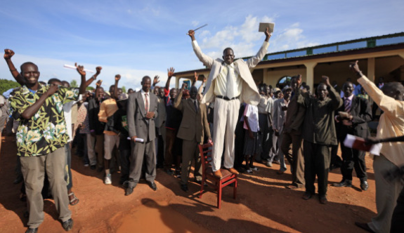 The National Youth Union protest the selection of civil societies, believing that the vulnerable populations in UNMISS camps are not represented. In the photo is Mawich Jacob after he was elected in Juba.(photo credits: George Steinmetz)