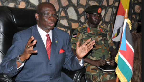 South Sudanese ambassador to Uganda Samuel Luate Lominsuk addresses the press in Kampala(Photo: Eddie Ssejjoba)