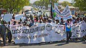 Some Civil society demonstrating early this year in Juba Capital 2014
