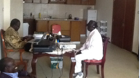 South Sudan Musician (Dina Maruach) visits Dr. Machar on July 30, 2014 in Addis Ababa Ethiopia ...