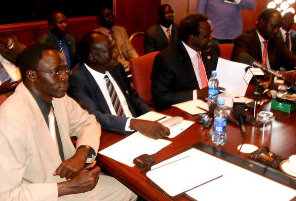 Dr Machar addressing the Media in Addis Ababa in May 2014 with his Team