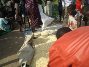 Untargeted beneficiaries of CWR receiving maize and other food items after the main beneficiaries got the items allocated to them in Pagak IDP camps...