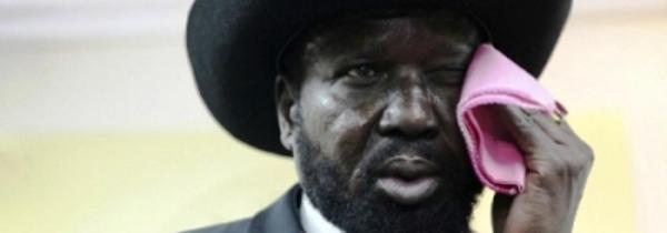 President Salva Kiir wipes his face with a pink handkerchief(Photo: supplied)