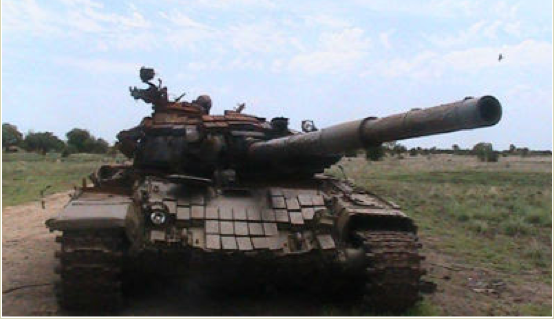 A tank of the SPLA destroyed by anti-government forces in Longechuk County, Upper Nile State; May 2014. (Photo: File)
