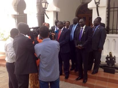 Machar leading a delegation in Djibouti, where he visit river port among other facilities(Photo: Hakim Cuei)