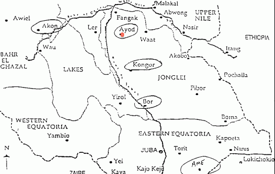 Map of South Sudan showing the direction of Ayod County in Jonglei State (via Wikipedia)