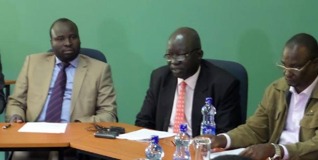 Dr. Oyet Nathaniel Pierino(L), Dr. Wani Tombe(C) and Taban Deng Gai, at a press conference in Addis Ababa(Photo: via Oyet)