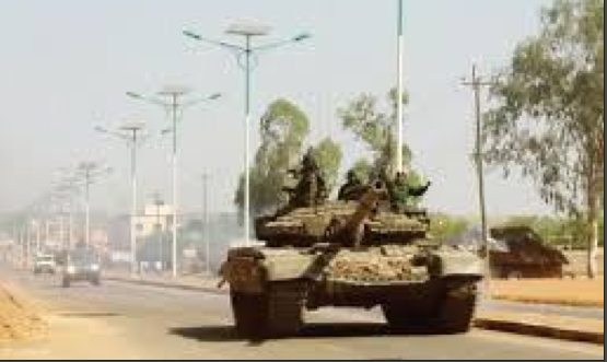 A tank rolling on the street of Juba in December after the president declared a curfew following what the government believed was a military coup(photo: file)
