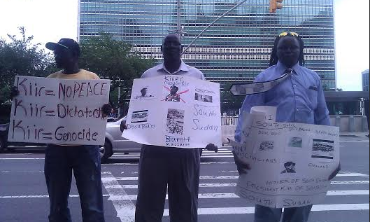 South Sudanese demonstrating at the United Nations Headquaters in Washington(Photo: Shared by Peter Kuel)