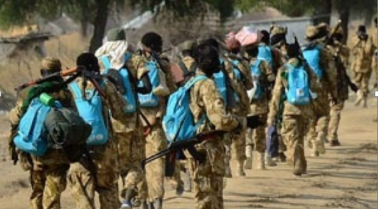 "South Sudan army walked away with school children ""back to school"" bags in January near Mathiang(Photo: supplied)"