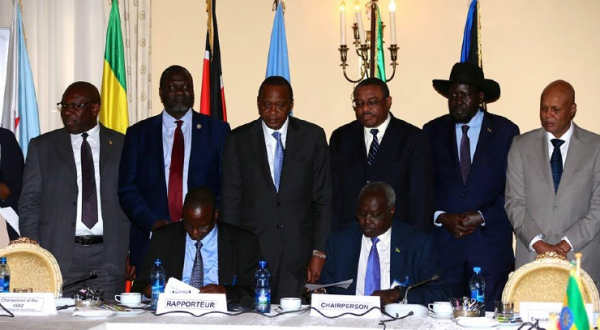 The IGAD heads of state observing the chief negotiators recommitting to January and May CoH agreements(Photo: file)