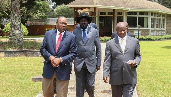 President Uhuru Kenyatta, Salva Kiir and Museveni in a parallel meeting on Friday, August 23, 2014(photo: Uhuru)