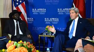 U.S. Secretary of State John Kerry meets with South Sudanese President Salva Kiir on the sidelines of the U.S.-Africa Business Forum in Washington, D.C., on August 5, 2014.