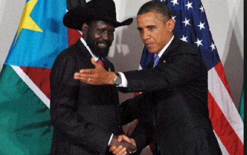 Obama welcomes Salva Kiir at the Whitehouse...