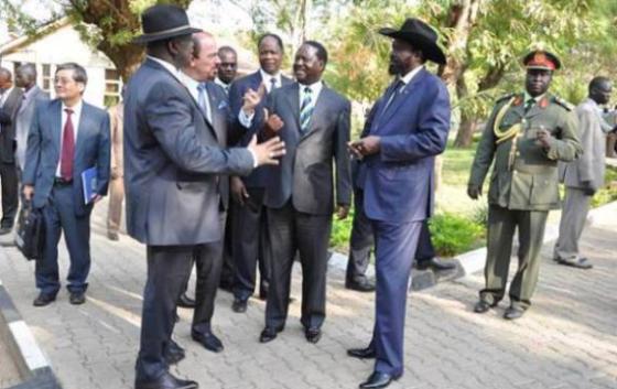 DR Machar, Kiir and Riala Odinga in Addis-ababa (Nyamilepedia photo)