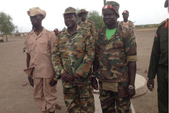 Mabior Garang de Mabior with Dr. Riek Machar and Deng Mading Chaui in Nasir, 2014(Photo: Mading)
