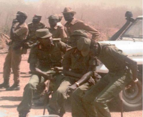 Cdr. Salva Kiir, Cdr. Arok Thon Arok, Middle, Cdr. Kerubino Kuanyin Bol, Lt. Col. Muor Muor beside Arok, Colonel, John Garang standing beside Muor Muor.(Photo: file)