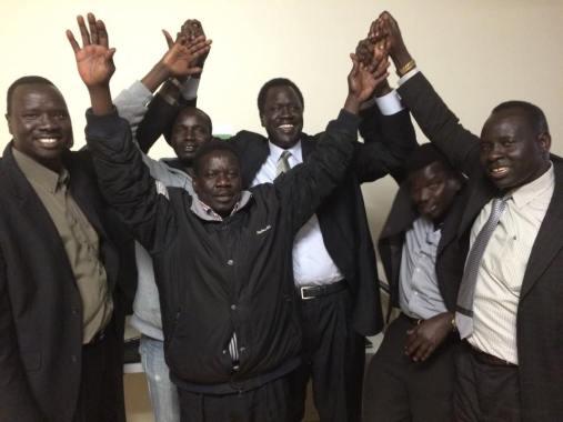 Ezekiel Lol Gatkuoth and SPLM/SPLA-IO members of Australian chapters during the tour in Australia(Photo: nyamilepedia)