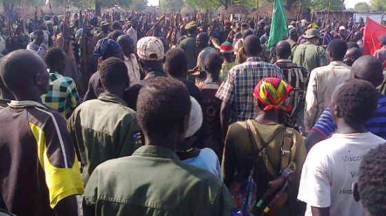 The Lou Nuer White armies gathering at undisclosed location, listening to a briefing. The youth have resorted to defending themselves and their counties from Salva Kiir's regime. Nine months and counting they control their territories(Photo: supplied)