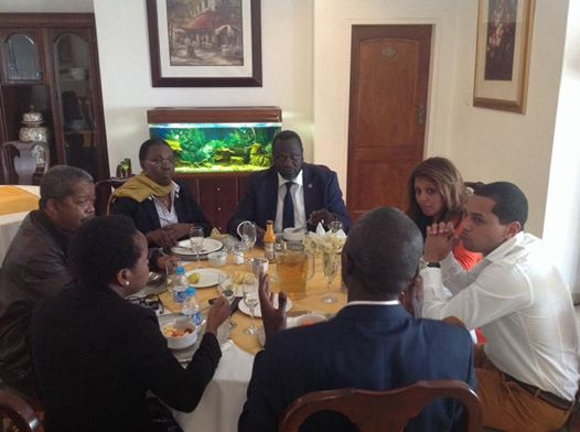 Machar in a dinner yesterday with members of South African government(Photo: Hakim)