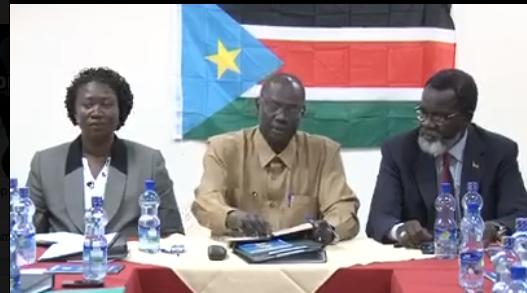 Michael Makuei Lueth(centre), the Acting Chief Negotiator for SPLM-Juba(Photo: Oyet Patric/Nyamilepedia)