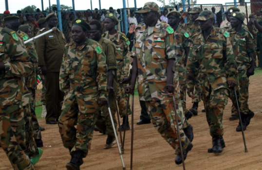 Wounded Heroes during the marching for 30th May anniversary in Wau.