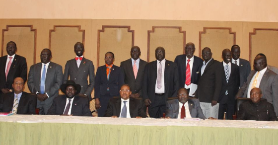 The SPLM leaders posting for a group photo in Arusha after signing the framework on October 20th, 2014(Photo: Nyamilepedia version)