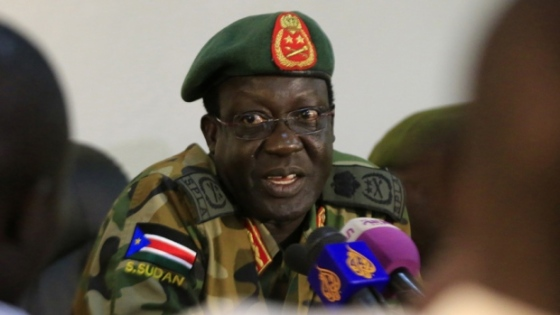 General James Hoth Mai, chief of staff of South Sudan's army, speaks during a media update. There is a state of emergency in Unity and Jonglei states as negotiations between the two factions in Addis Ababa(Photo: James Akena/Reuters)