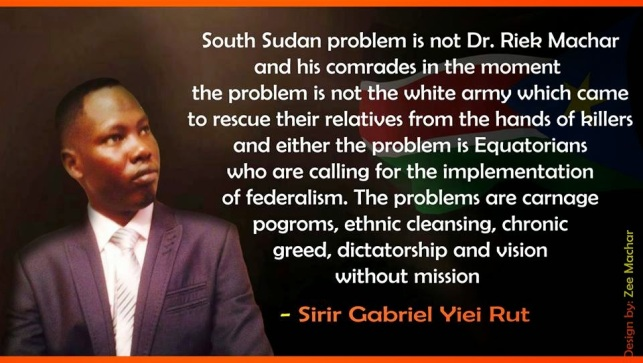 Cde. Sirir Gabriel Yiei Rut. SPLM-Youth League Chapter chairperson in Arab Republic of Egypt.