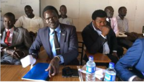 President of South Sudanese Students Union In Uganda ,Peter Nin Tut in the middle and Mr. Anthony on the right (Photo: Extracted/Nyamilepedia)