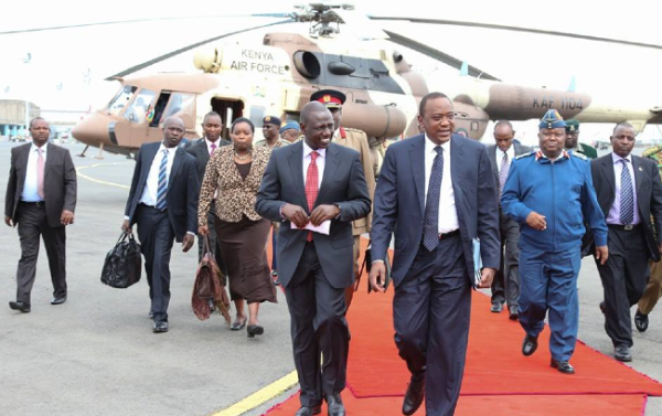 Kenyan president, Uhuru Kenyatta, alight from the presidential jet(Photo: Uhuru's profiles)