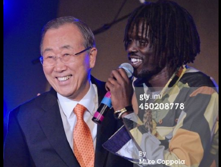 Emmanuel Jal a South Sudanese musician, former child soldier, and political activist, post with UN Secretary General, Ban ki Moon(Photo: via Jal's socials)