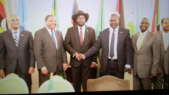 Leaders of South Sudan's warring factions greet at the signing of a roadmap agreement in Ethiopia in May 2014(Photo: file)