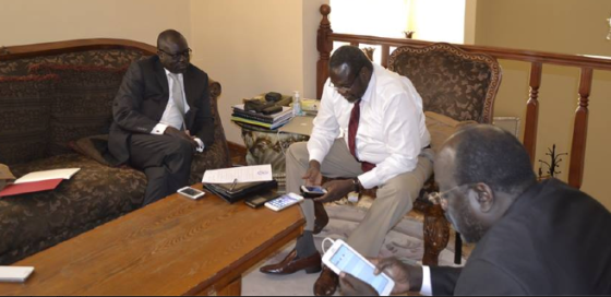 Ambassador Lumumba Stanislaus Di-Aping, Hon. Henry Dilay among other politicians meet with Dr. Riek Machar in Addis Ababa, Ethiopia(Photo: Via Dr. Machar profiles)