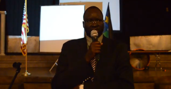 Dr. Majak Agoot giving a speech in Phoenix, Arizona, USA(Photo: Extracted/Nyamilepedia)