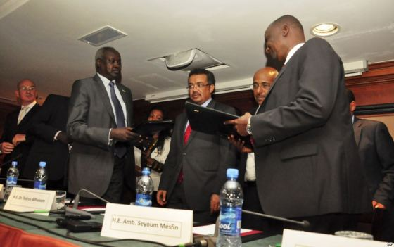 Chief Negotiators for the two warring factions, Nhial Deng Nhial for SPLM-Juba and Gen. Taban Deng Gai for SPLM-IO(Photo: file)