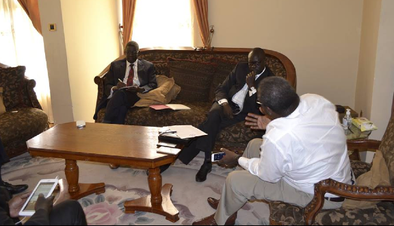 Hon. Henery Dicah Odwar the former member of parliament and Ambassador Lumumba Stanislaus the former south sudan ambassador to Geneva met Dr. Riek Machar on Nov 19, 2014 after their declaration of joining SPLM-IO(Photo: via Dr. Machar's socials)