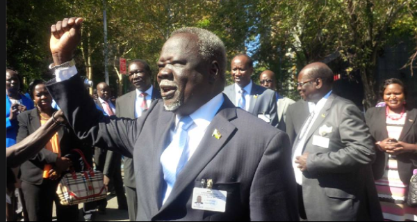 Dr Riek Gai Kok AND Dr. Marial Benjamin welcoming president Salva Kiir in Juba(Photo: supplied)