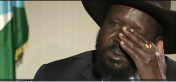 President Salva Kiir wiping his face with no handkerchief during a hard talk on Al Jazeera in Juba, South Sudan(Photo: extracted from youtube)